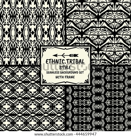 Seamless abstract vector pattern tribal ethnic style collection in monochrome background with frame - stock vector