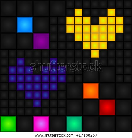 Seamless, abstract, vector, pixel pattern with blue and yellow hearts and multicolored squares. Vector. LED-display. Retro. - stock vector