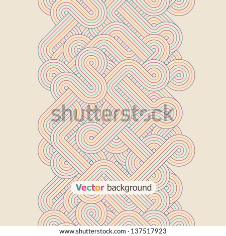 Seamless abstract vertical border. Color twisted lines. Vector illustration - stock vector