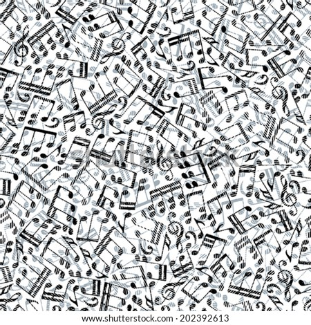 Seamless aged musical notes background, seamless pattern, vector. - stock vector