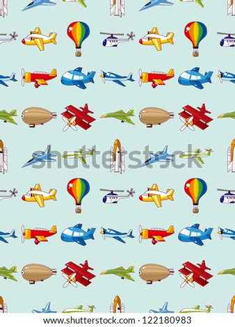 seamless airplane pattern,cartoon vector illustration - stock vector