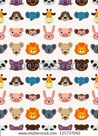 seamless animal face pattern,cartoon vector illustration - stock vector