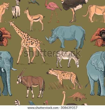 Seamless animal planet pattern with giraffe, lioness, hyena, orangutan, parrot, rhino, zebra, deer, lemur, ostrich, anteater, flamingo - stock vector