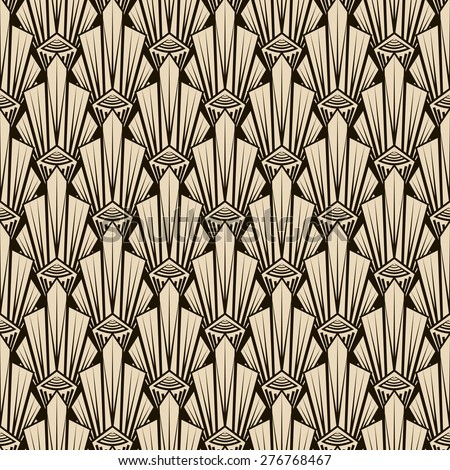 Seamless antique pattern ornament. Geometric art deco stylish background. Vector repeating texture in monochrome colors - stock vector