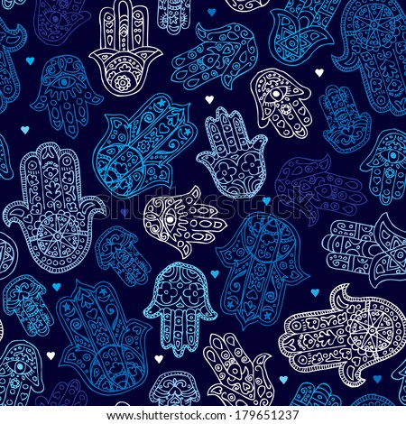 Seamless arabic hamsa hand of fatima illustration background pattern in vector - stock vector