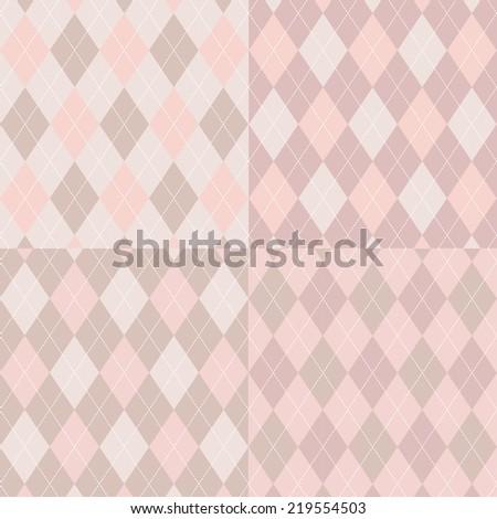 Seamless argyle pattern diamond shapes background vector set