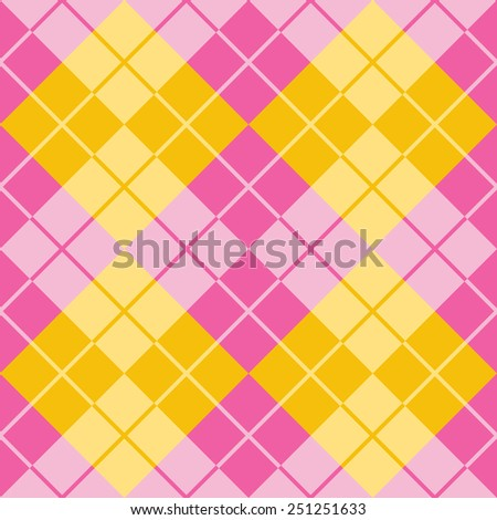 Seamless argyle pattern in analogous colors. - stock vector