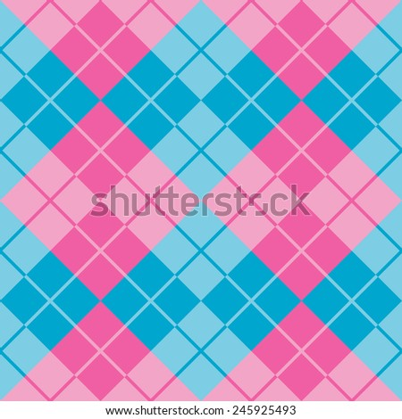 Seamless argyle pattern in pink and blue. - stock vector
