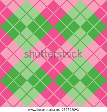 Seamless argyle pattern in pink and green. - stock vector