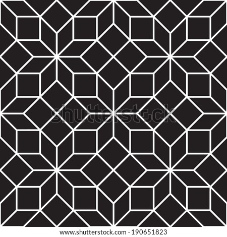 Seamless Art Deco Tracery Trellis Texture Pattern Background - Black and White - stock vector