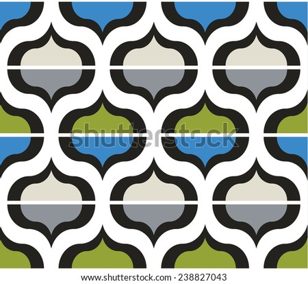 Seamless art vector color geometric pattern background - stock vector