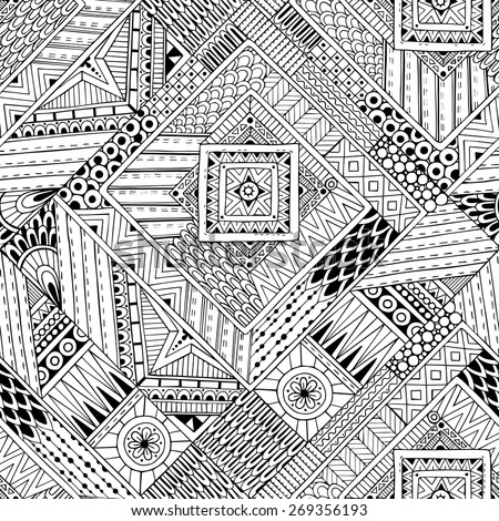 Seamless asian ethnic floral retro doodle black and white background pattern in vector. Henna paisley mehndi doodles design tribal black and white pattern.  - stock vector