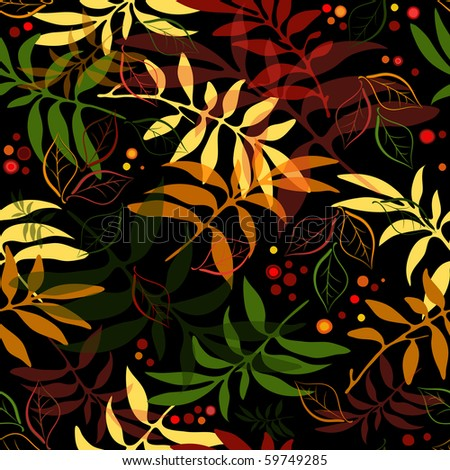 Seamless autumn floral black pattern with colorful leaves (vector EPS 10) - stock vector