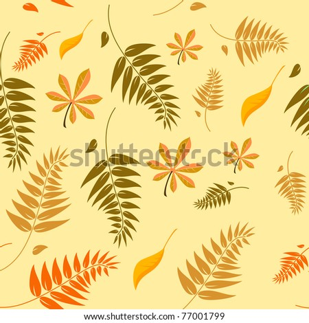 Seamless autumn leaves background with a range of different types of leaves in autumn colours which can be tiled seamlessly in all directions - stock vector