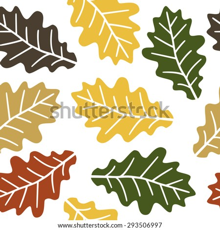 Seamless autumn oak leaves pattern background - stock vector