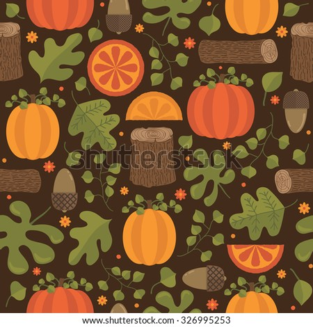 seamless autumn themed pattern with pumpkins, acorns, logs and foliage - stock vector