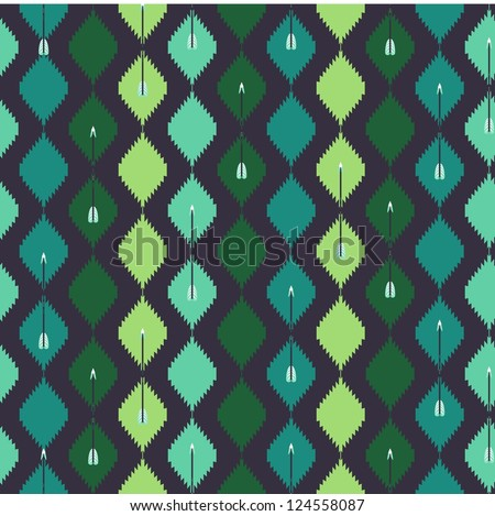Seamless aztec colorful pattern with arrow - stock vector