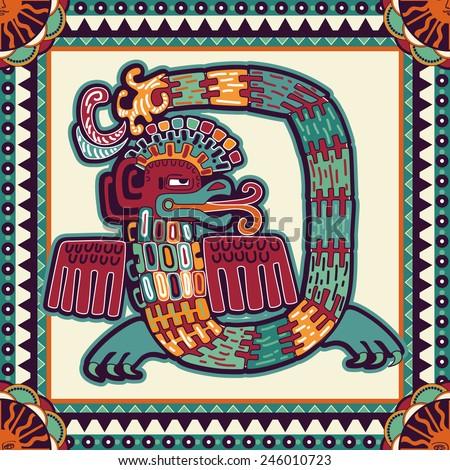 Seamless aztec pattern - stock vector