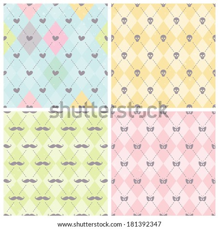 Seamless baby background collection. Set of vector patterns. - stock vector