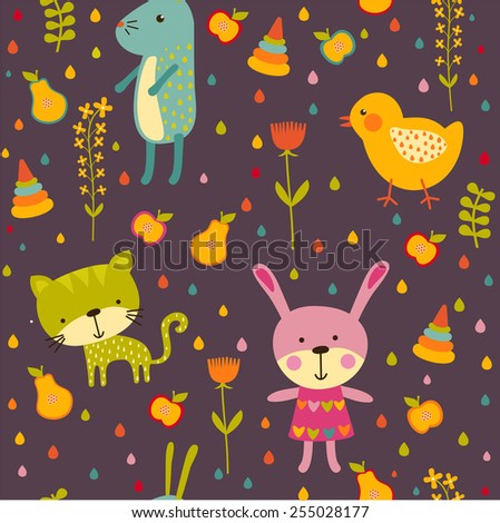 Seamless baby background with cat, chicken and rabbit - stock vector