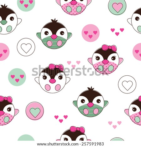 seamless baby penguin pattern background vector illustration - stock vector