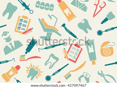 Seamless background about dentistry and dental care - stock vector