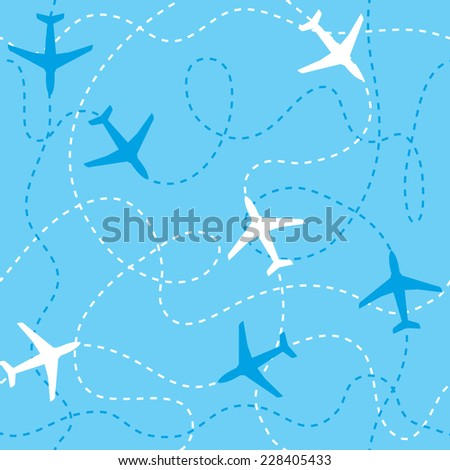 Seamless background airplanes flying with dashed lines as tracks or routes on blue sky - stock vector