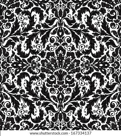 Seamless background baroque pattern, black and white classic theme. Vintage style. Vector illustration. - stock vector