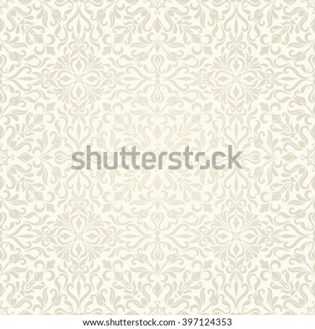 Seamless background beige color in the style of Damascus.  Vector seamless patterns.  Can be used for wallpaper, pattern fills, web page background,surface textures. - stock vector