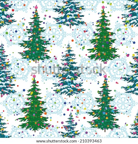 Seamless background, Christmas holiday trees with decorations and snowflakes. Vector - stock vector