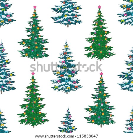 Seamless background, Christmas holiday trees with decorations, isolated on white. Vector - stock vector