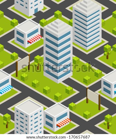 Seamless background city. Isometric - stock vector