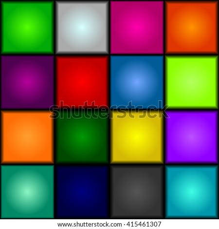 Seamless background - colorful, glowing, three-dimensional cubes. Dance floor, palette of colors. Vector. - stock vector
