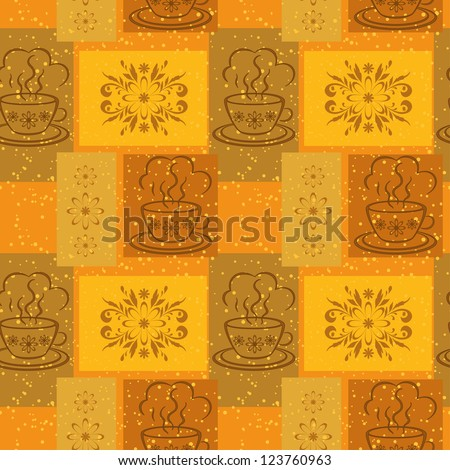 Seamless background, cups with a hot drink and rectangles with floral pattern. Vector - stock vector