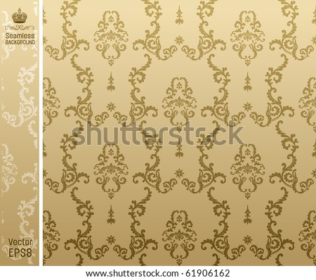 seamless background flower beige. vector illustration - stock vector