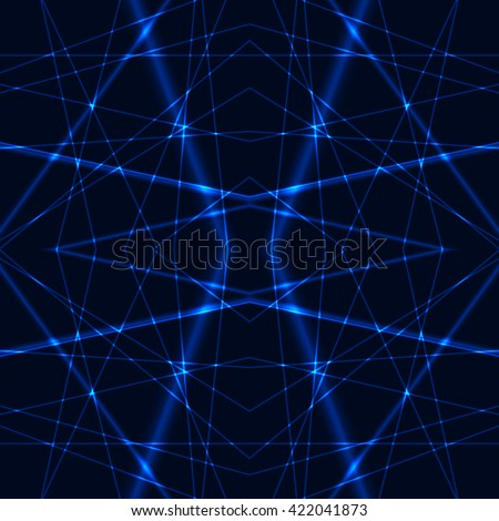 Seamless Background from Blue Laser Beams. Chaotic blue laser beams. Shining blue laser rays. Net made from blue x-rays. - stock vector