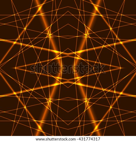 Seamless Background from gold Laser Beams. Chaotic orange laser beams. Shining yellow laser rays. Net made from red x-rays. - stock vector