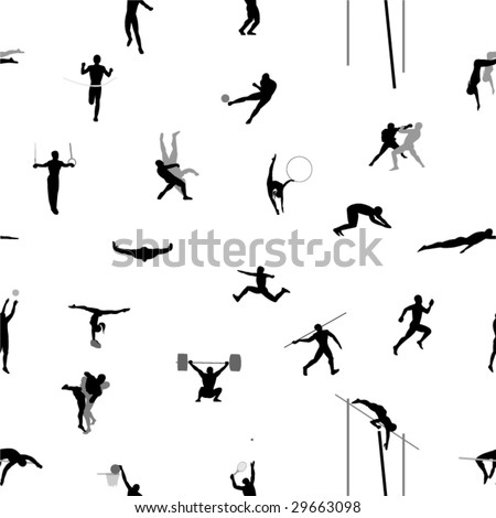 Seamless background from people sports. - stock vector
