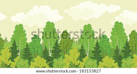 Seamless background, green summer forest with fir and birch trees and cloudy sky. Vector - stock vector