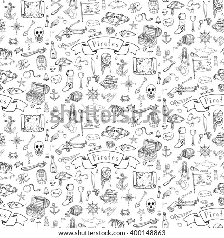 Seamless background Hand drawn doodle Pirate icon set Vector illustration piracy symbols collection Cartoon concept elements Treasure chest Black flag Skull Crossbones Compass Costume Anchor Spyglass  - stock vector