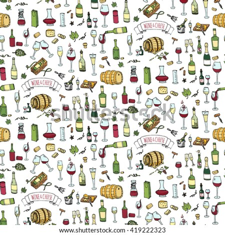 Seamless background Hand drawn wine and cheese set icons. Vector illustration Sketchy tasting elements collection Objects Cartoon symbols Vineyard, Winery Grape Glass Bottle package Oak barrel - stock vector