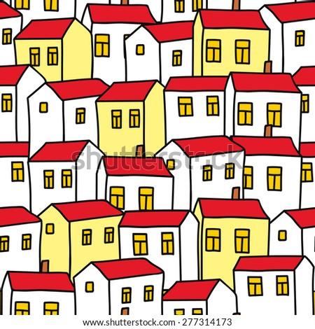 Seamless background houses - stock vector