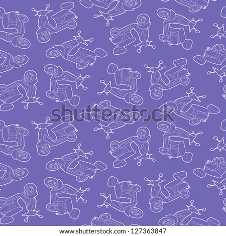 Seamless background illustration of repeating scooters in outline - stock vector