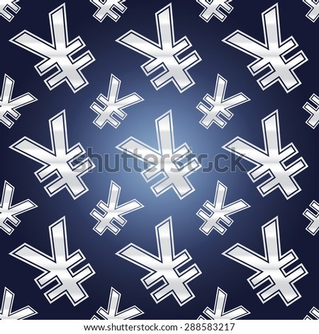 Seamless background illustration of repeating yen currency signs. - stock vector