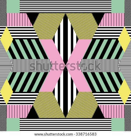 Seamless background in retro bauhaus style 2 - stock vector
