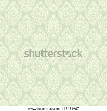 Seamless background in the style of green damask - stock vector