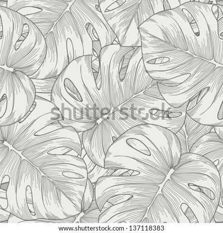 seamless background. leaves monster with outline - stock vector