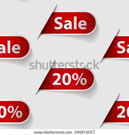 Seamless background made from labels with word sale and 20% - stock vector
