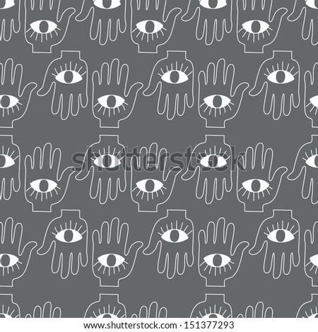 Seamless background. Monsters and freaks. Set 21. Hand with eye. Black-white. Vector illustration - stock vector