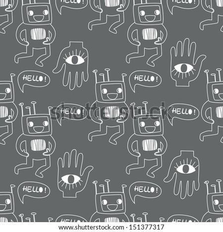 Seamless background. Monsters and freaks. Set 15. Robot. Black-white. Vector illustration - stock vector